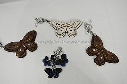 Coach F58996 /f58997 Studded Leather Butterfly Keyring/key-clip/ Bag Charm Brown