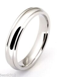 Bridal And Mens 4mm Stainless Steel Polished Grooved Modern Wedding Band Ring