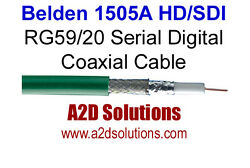1000and039 Spool - Belden 1505a Rg59/20 Hd And Sdi Digital Coaxial Cable - Green