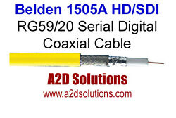 1000and039 Spool - Belden 1505a Rg59/20 Hd And Sdi Digital Coaxial Cable - Yellow