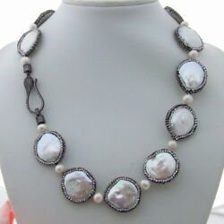 Ge022607 20 White Coin Pearl Necklace