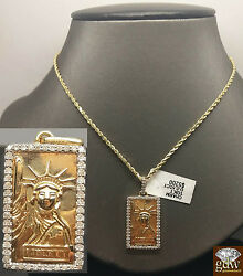 10k Yellow Gold Dog Tag Liberty Charm Pendent 1.4 With 10k Rope Chain