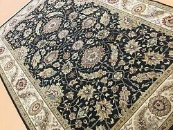 6and039.1 X 9and039.1 Black Beige Floral Fine Agra Oriental Area Wool Rug Hand Knotted