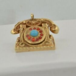 Cw209     14k Gold Telephone With Turquoiseandcoral Rotary Dial Pendant Charm