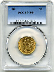 1882 5.00 Gold Half Eagle Pcgs Ms64 Scarce Date At A Reasonable Price