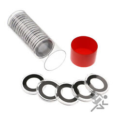 Us Nickel Coin Holder Red Capsule Tube And 20 Air-tite 21mm Black Rings
