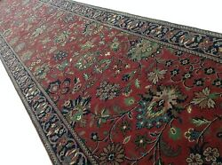 2and039.6 X 20and039.0 Red Navy Fine Traditional Oriental Rug Long Runner Hand Knotted