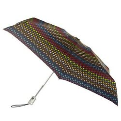 Totes Signature Auto Open & Close Micro Umbrella Black & multi color dots NEW