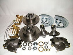 Chevy Ii Nova Front Disc Brake Conversion Kit Spindles Drilled And Slotted Rotors