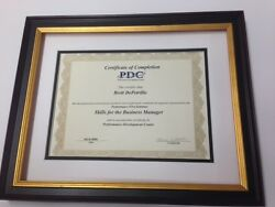 Custom Certificate Frame 1 Black W/gold And 2 Mats Quality Molding