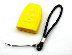 Yellow Silicone Case Cover For Audi A3 S4 S5 Remote Smart Key 3 4 Buttons AUD3YE