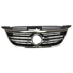 09-11 Vw Tiguan Front Grill Grille Assembly Black Shell Insert W/chrome Molding