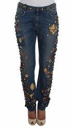Dolce And Gabbana Jeans Crystal Roses Heart Boyfriend Denim It40/ Us6 /s Rrp 6800