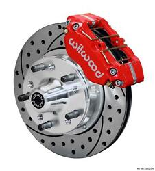 Wilwood 64-72 Chevelle A-body Front Disc Brake Kit 11 Drilled Rotor Red Caliper