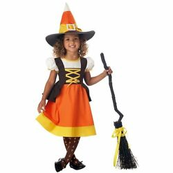 SWEET TREAT CANDY CORN WITCH GIRLS HALLOWEEN COSTUME TODDLER SIZE LARGE 4-6 $24.88