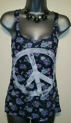 Size 6 Top H&M Peace Vest Excellent Condition Boho Hippie Travelling Holiday
