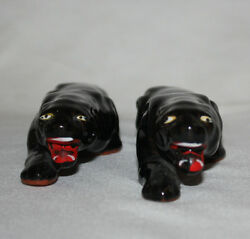 Black Panthers Cougars Set of 2 Cats 1960s  Carnival Wins Gifts Made in Japan
