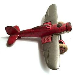 Hubley Red Fighter Plane Silver Wings No Propeller