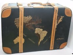 Vintage Jean Claude Jitrois  Map of the World Leather Suitcase Louis Vuitton Tag