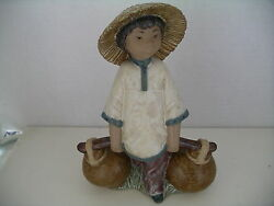 1985 Lladro Chinese Boy Carrying Water Marked E30 Ag Scratched U E 7 1/4