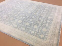 8and039.1 X 9and039.11 Muted Light Blue Beige Oushak Oriental Rug Hand Knotted Wool