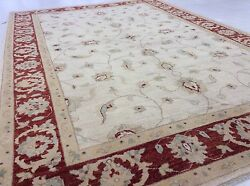 6and039.2 X 9and039.0 Beige Red Fine Oushak Oriental Area Wool Rug Handmade Office/study