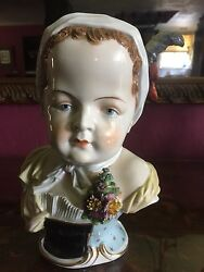 Bust Of Girl In Kerchief With Corsagedresden Antique Rare