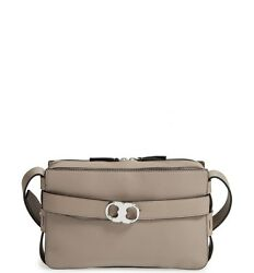 Tory Burch Small Gemini Belted Leather Camera Bag French Grey NWT