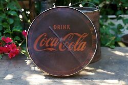 Rustic Vintage Round Metal Drink Coca Cola Thermometer 495a Usa No Glass