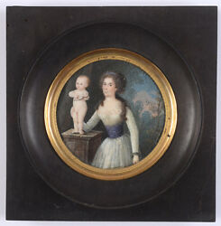 Portrait Of A Young Lady As A Cupid's Admirer, French Miniature, 1785/90