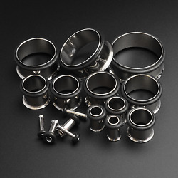 Ear Stretching Kit Flesh Tunnel | Single Flare | Surgical Steel | 1.6mm - 19mm