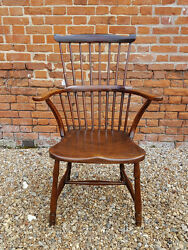 18th Century English Antique Comb Back Windsor Armchair Circa 1776