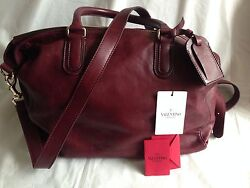 Valentino Garavani Men's Women's Weekend Travel Carry On  Bag Burgundy Leather