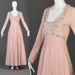 M Vintage Victoria Royal Beaded Formal Gown Flowy Maxi Long Sleeve Pink Evening