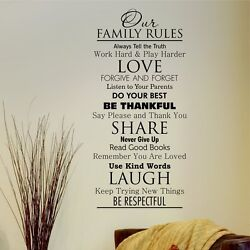 OUR FAMILY RULES Classic Removable Home Wall Decal Vinyl Quote Decor Art DIY