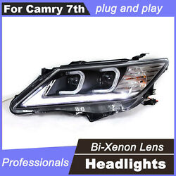 2Pcs LED DRL Light Bi-Xenon HID Projector Lens Headlights For Toyota Camry 7th
