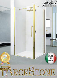 Novellini Young 2.0 G+f Box Port Panel Swing Fixed 85-120 Cms Clear Gold