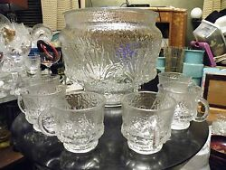Very Rare Anchor Hocking Rainforest Clear Punch Bowl And Cups Retro Mid Century