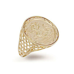 9ct Yellow Gold Hallmarked Imitation St George Full Sovereign Ring 23mm