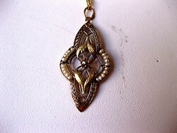 Antique Victorian 14k 2-tone Rose Gold Filigree Pendant Seeds Pearl And Diamond