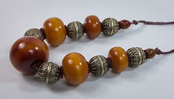 African Phenolic Amber And Metal Beads Necklace