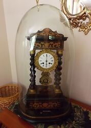Fabulous Antique French Portico Clock 1835-50 All Original With Glass Dome