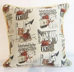 Terrier Dogs Scottie Westie Yorkie Design Tapestry Cushion Filled Signare