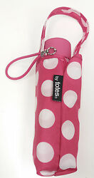 Totes Micro Mini Manual Umbrella PinkWhite Rubber EZ Grip Handle NeverWet NEW