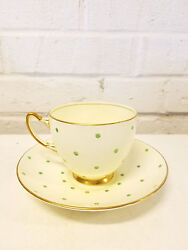 Vintage Adderley Helen Moore English Bone China Cup & Saucer with Green Dots