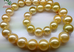 huge12-14mm south sea round  white pear necklace 18inch 14k