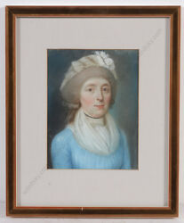 Portrait Of A Lady In Blue Gown German Pastel 1790s