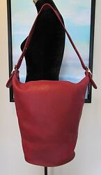 Rare COACH Red Leather XL Bucket Hobo Bag USA 9085 MINT