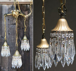 Pair 3lite Vintage Hanging Swag Lamp Chandelier Tole Brass Deco Ins Lily Crystal