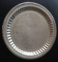 Vintage Ornate Silverplate 13 Platter. English Silver Mfg Corp. Made In Usa.